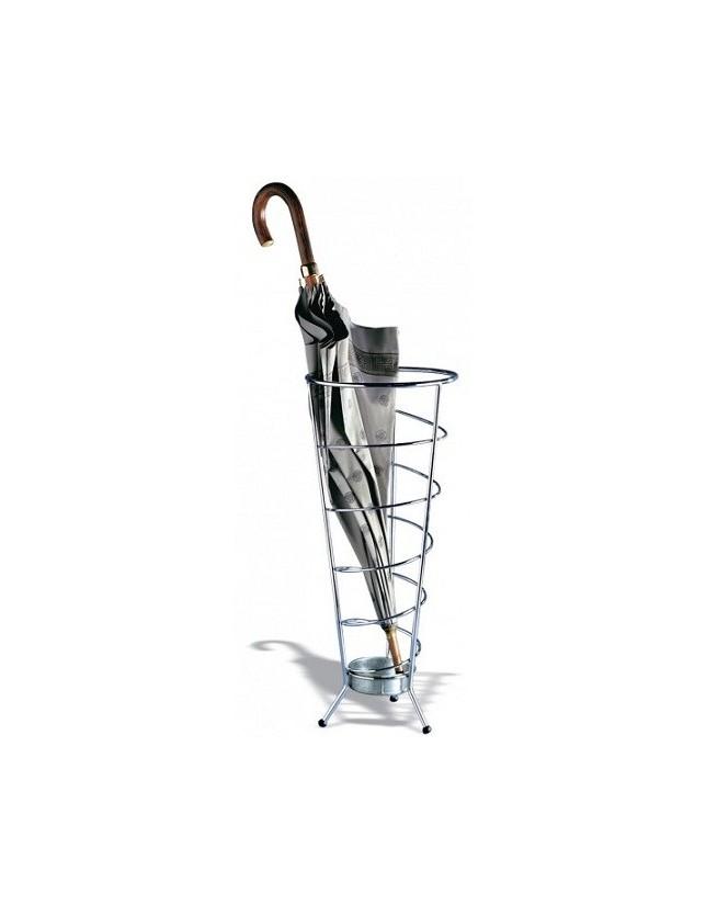 Porta ombrelli cono in acciaio cromato