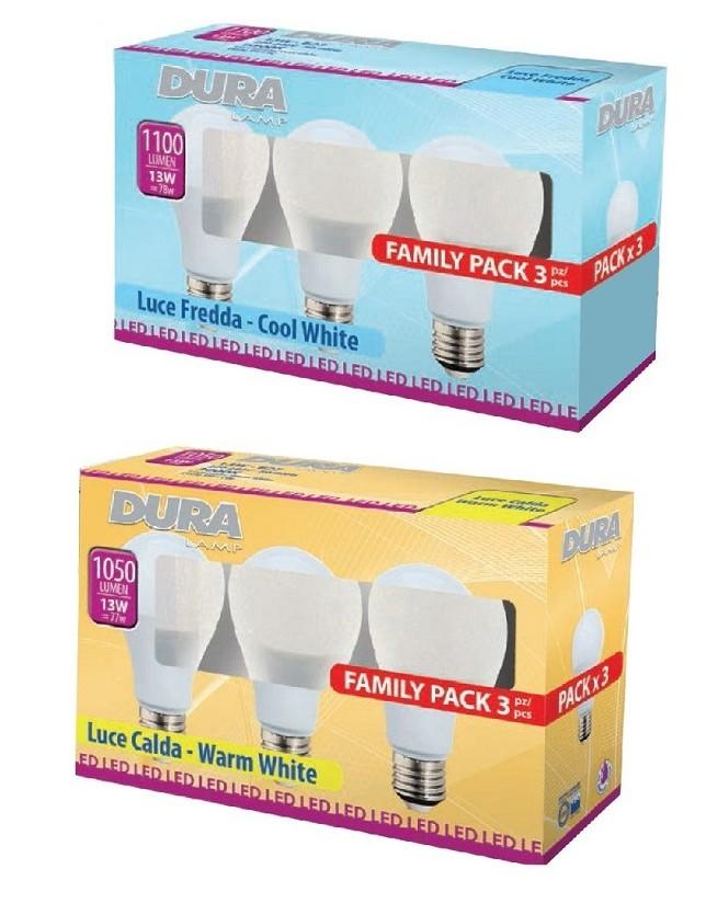 DURALAMP SET 3 LAMPADE LED MOD.GOCCIA 13W E27